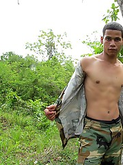 Twink scout wanking off in the woods