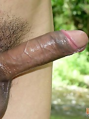 Wet Latin twinks packing round butts in the river